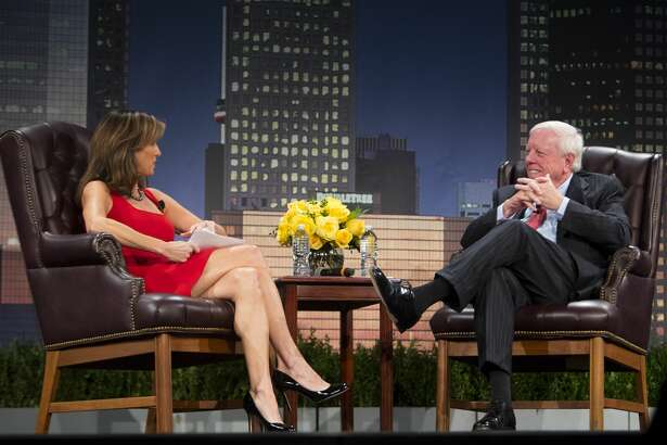 Janet Shamlian interviews Rich Kinder during the MD Anderson Evening with a Living Legend featuring Rich Kinder on Wednesday, Nov. 15, 2017, in downtown Houston. (Annie Mulligan / Freelance)