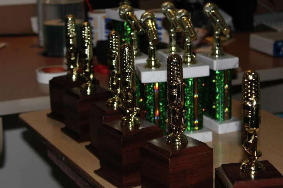 A group of the trophies that the WWPT station has won during the 2017 Drury Awards. Photo: Aaron Johnson / Hearst Connecticut Media