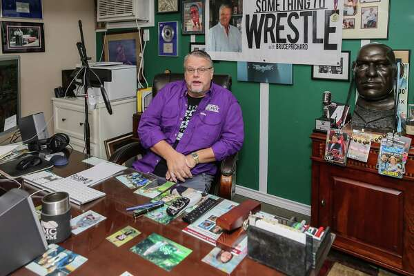 """November 8, 2017:  Wrestling personality Bruce Prichard hosts the podcast show """"Something to Wrestle with Bruce Prichard"""" from his studio in Friendswood, Texas. (Leslie Plaza Johnson/Freelance"""