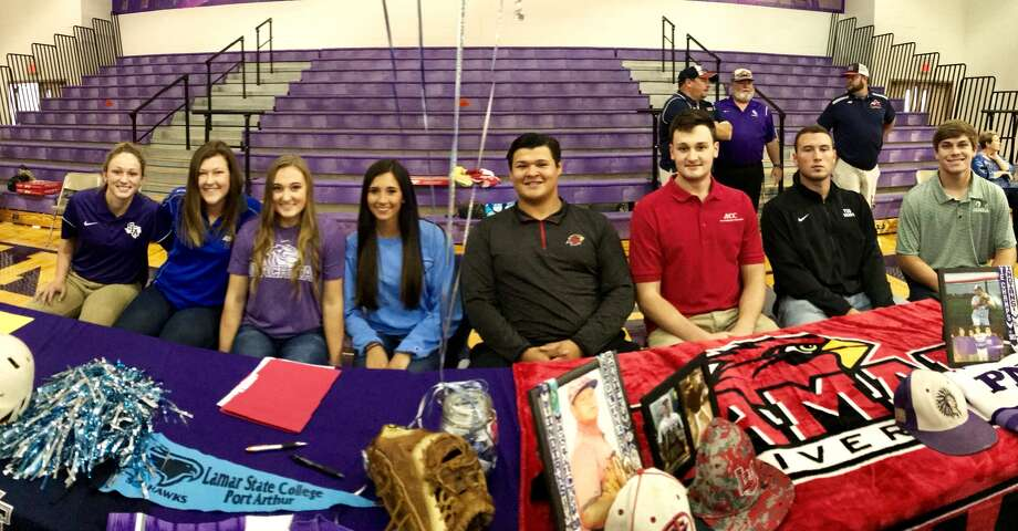 Eight athletes — four softball and four baseball — signed with universities both in and out of state during a ceremony Wednesday at the Port Neches-Groves High School competition gym.Signing for softball were, from left: Kaitlyn Boudreaux (Stephen F. Austin University); Britni Hunt (Angelo State University); Callie Jourdan (Ouachita Baptist University); and Brooke Smith (Lamar State College-Port Arthur).Signing for baseball were, from left: Josh Hranicky (Lamar University); Brandon Petix (Alvin Community College); Holden Lane (Texas Southern University); and Austin Bost (Panola College).(Mike Tobias/The Enterprise)