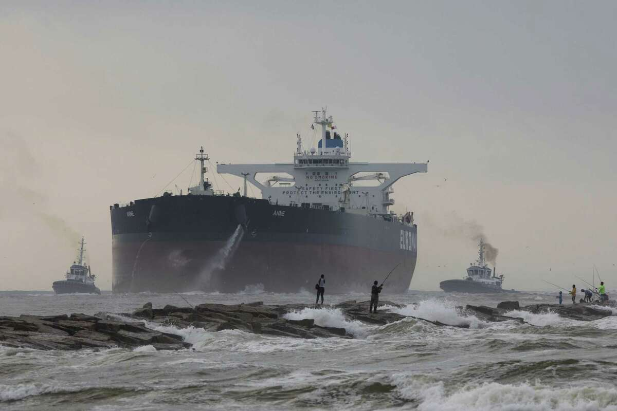 A very large crude carrier, or VLCC, approaches Occidental Petroleum Corp.'s Ingleside Energy Center Terminal near Corpus Christi. The visit marked the first time a VLCC, which can carry upwards of 2 million barrels of oil, had visited a U.S. port.