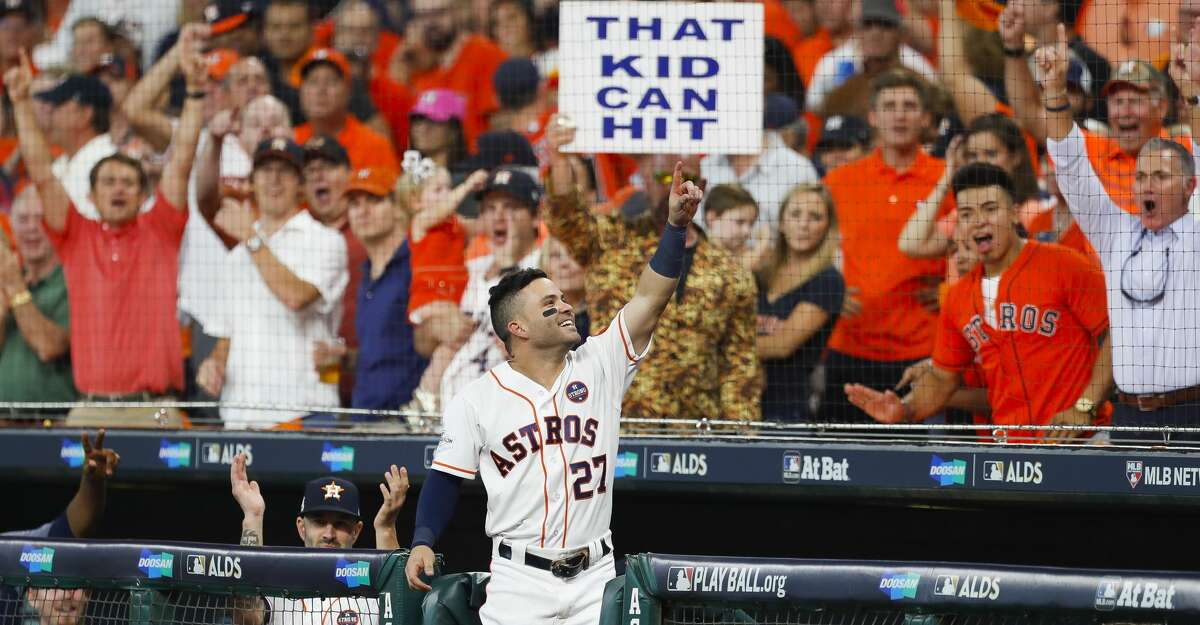 The fan's sign said it all after Jose Altuve came out for a curtain call following his third homer of Game 1 of the 2017 AL Division Series against the Red Sox at Minute Maid Park.