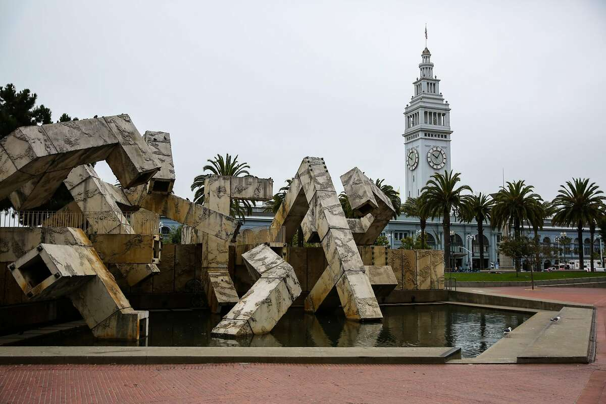 A view of the Vaillancourt Fountain in Justin Herman Plaza in San Francisco, Calif., on Monday, Aug. 14, 2017.