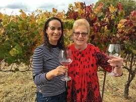 Columnist Caille Millner with her friend Jineen Summerton at Square Peg Winery in Sebastopol on November 12, 2017.