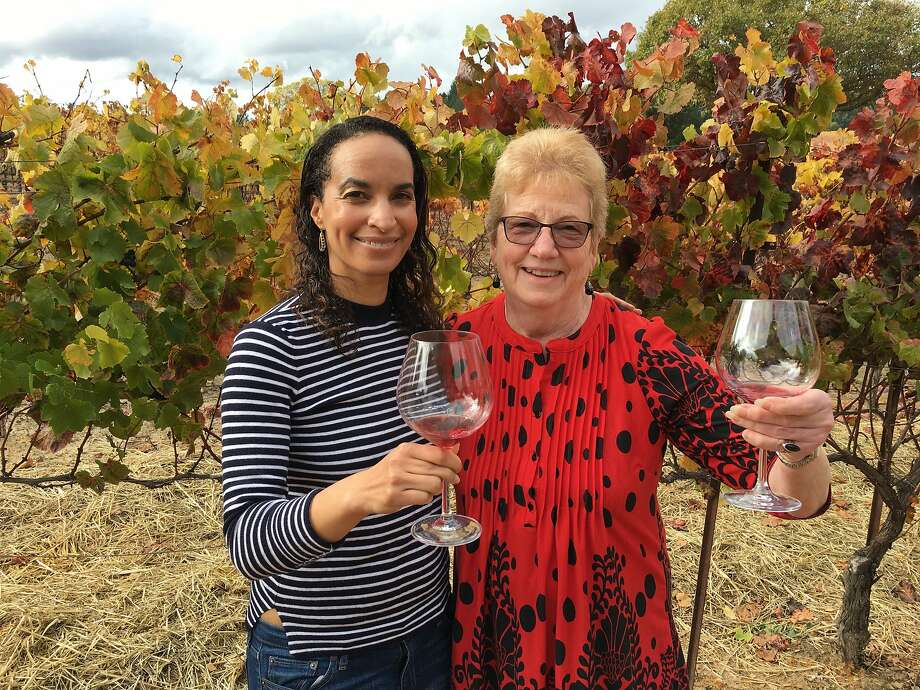 Columnist Caille Millner with her friend Jineen Summerton at Square Peg Winery in Sebastopol on November 12, 2017. Photo: Thomas Rogers