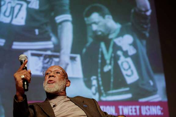 Olympian John Carlos answers questions about athletes and protest during a forum at University of Houston on Thursday, Nov. 16, 2017, in Houston. ( Elizabeth Conley / Houston Chronicle )