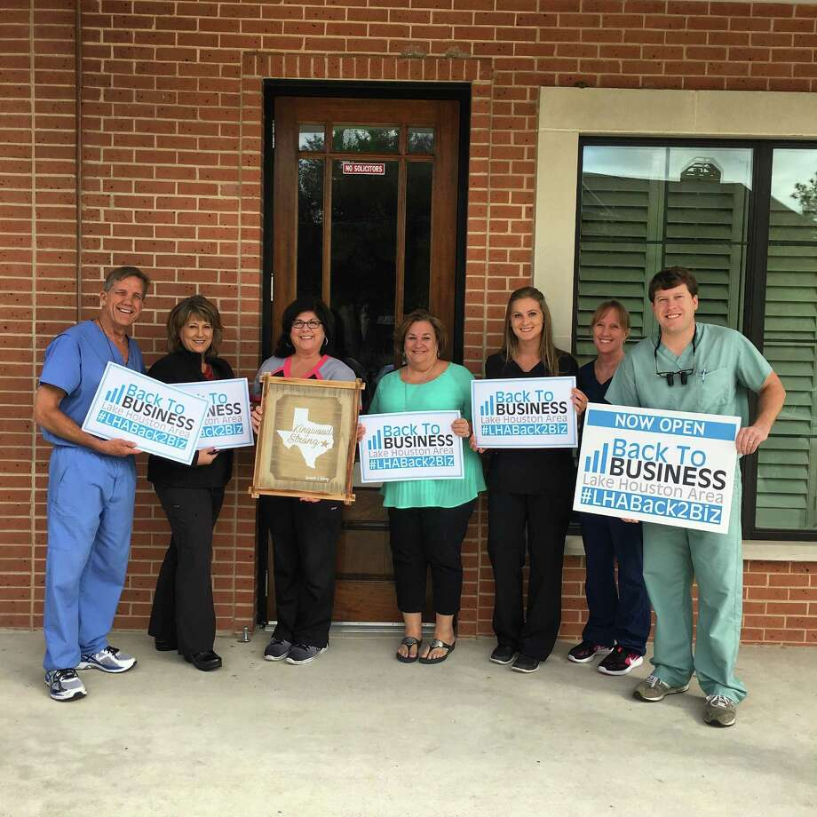 Barksdale & Hastings Dentistry staff shows off their Kingwood Strong attitude and happy to be Back2Biz. Photo: Courtesy