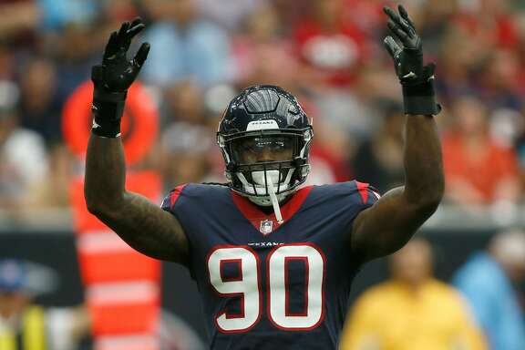 HOUSTON, TX - NOVEMBER 05:  Jadeveon Clowney #90 of the Houston Texans signals for the crowd to get louder against the Indianapolis Colts in the first quarter at NRG Stadium on November 5, 2017 in Houston, Texas.  (Photo by Bob Levey/Getty Images)