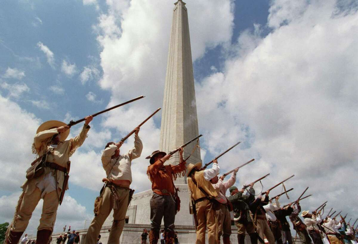 The Texas Army fired a salute to the victory gaining Texas Independence, in April 2002 at the Monument, marking the anniversary of the Battle of San Jacinto.
