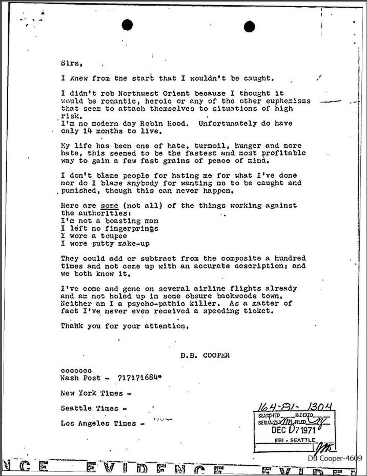 This letter, the fifth letter allegedly sent by D.B. Cooper to newspapers in the days following the Nov. 24, 1971 hijacking, was recently released by the FBI through a FOIA suit, and a Cooper investigator thinks the letter demonstrates a cover-up, and numbers at the bottom of the letter are a code that points to Tom Colbert's prime suspect, Colbert says.