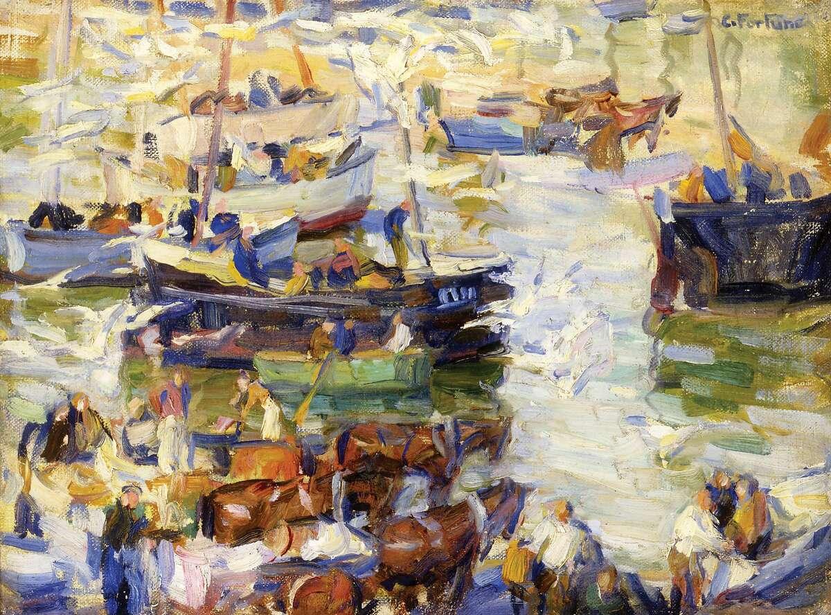 """E. Charlton Fortune's """"Pilchard Boats;"""" circa 1922-1923; oil on canvas."""