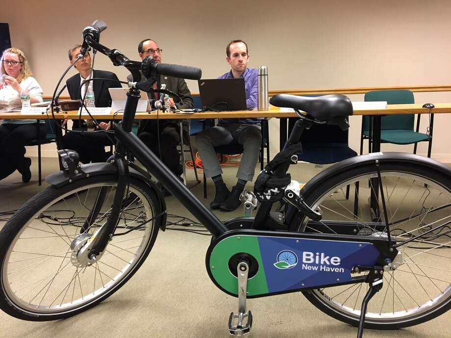 City Plan Commission gets to check out the kind of bike that will be featured in the city's bike sharing program that will roll out in December. Photo: Mary O'Leary / Hearst Connecticut Media