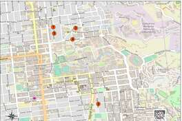 Police released a map of robberies believed to be carried out by the same crew near the UC Berkeley campus over the past few weeks.
