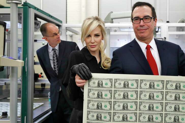 Steven Mnuchin and wife Louise Linton toured the Bureau of Engraving and Printing on Wednesday.