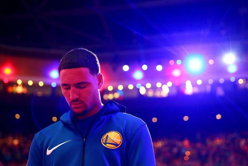 BOSTON, MA - NOVEMBER 16: Klay Thompson #11 of the Golden State Warriors stands for the national anthem before the game against the Boston Celtics at TD Garden on November 16, 2017 in Boston, Massachusetts. (Photo by Maddie Meyer/Getty Images)