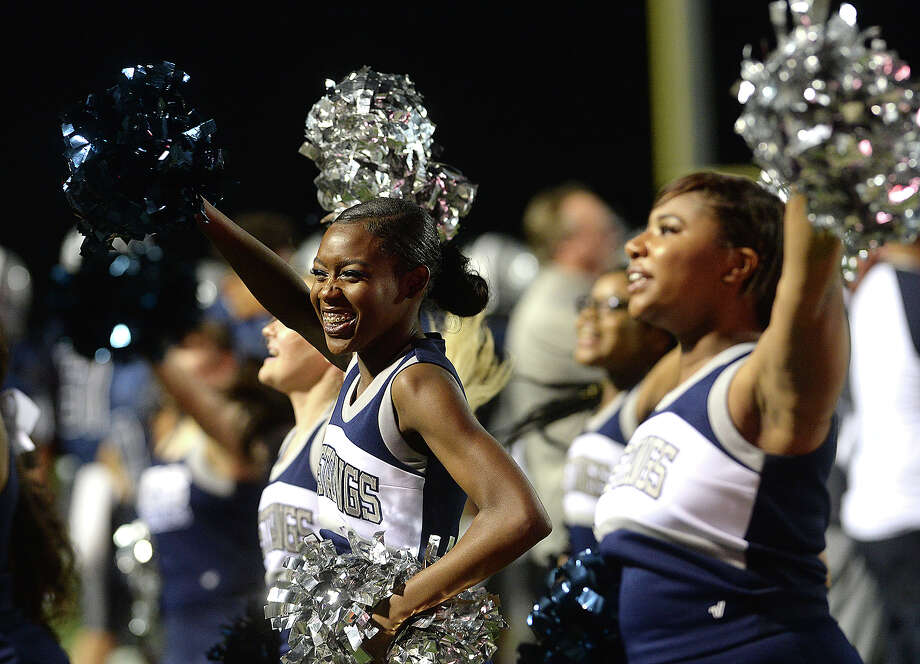 West Orange - Stark's cheerleaders keep the Mustang spirit alive against Brookshire Royal during their play-off game Thursday at Stallworth Stadium. Photo taken Thursday, November 16, 2017 Kim Brent/The Enterprise Photo: Kim Brent / BEN