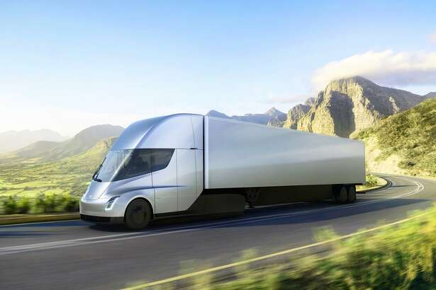 Tesla has introduced its first semitruck, shown in an illustration, near its design center in Hawthorne (Los Angeles County). It plans more large trucks.