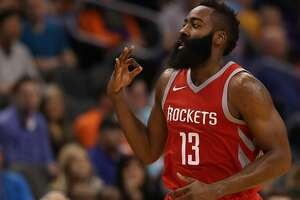 PHOENIX, AZ - NOVEMBER 16:  James Harden #13 of the Houston Rockets reacts to a three point shot against the Phoenix Suns during the second half of the NBA game at Talking Stick Resort Arena on November 16, 2017 in Phoenix, Arizona. NOTE TO USER: User expressly acknowledges and agrees that, by downloading and or using this photograph, User is consenting to the terms and conditions of the Getty Images License Agreement.  (Photo by Christian Petersen/Getty Images)