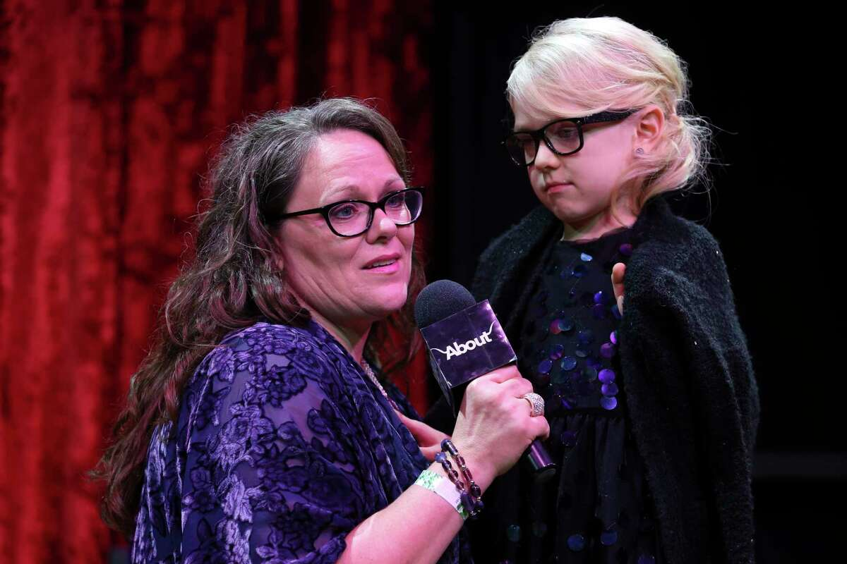 Activist of the Year Award recipient Kimberly Shappley gets emotional while giving her remark regarding to her transgender daughter, Kai, 6, at the sixth annual F.A.C.E. Awards ceremony at South Beach nightclub on Thursday, Nov. 16, 2017, in Houston. The awards honored Houston's LGBT community in a variety of categories.