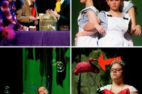 H. H. Dow High School students perform scenes during a dress rehearsal on Wednesday for their production of Adventures in Wonderland, which opened at Central Auditorium Thursday evening and continues at 7 p.m. Friday and Saturday, with a 3 p.m. Saturday matinee. Top left: Gabriella Donoso plays the Cheshire Cat, Robert Heyart plays the White Rabbit and Stephen O'Donnell plays the Mad Hatter. Top right: Emma Allington plays Alice, Anna Stolz plays Small Alice and Maggie Reed plays Tall Alice. Bottom left: Alix Campbell plays the Caterpillar. Bottom right: Ryan Wall plays the Queen of Hearts. For a slideshow with more photos, go to www.ourmidland.com (Katy Kildee/kkildee@mdn.net)