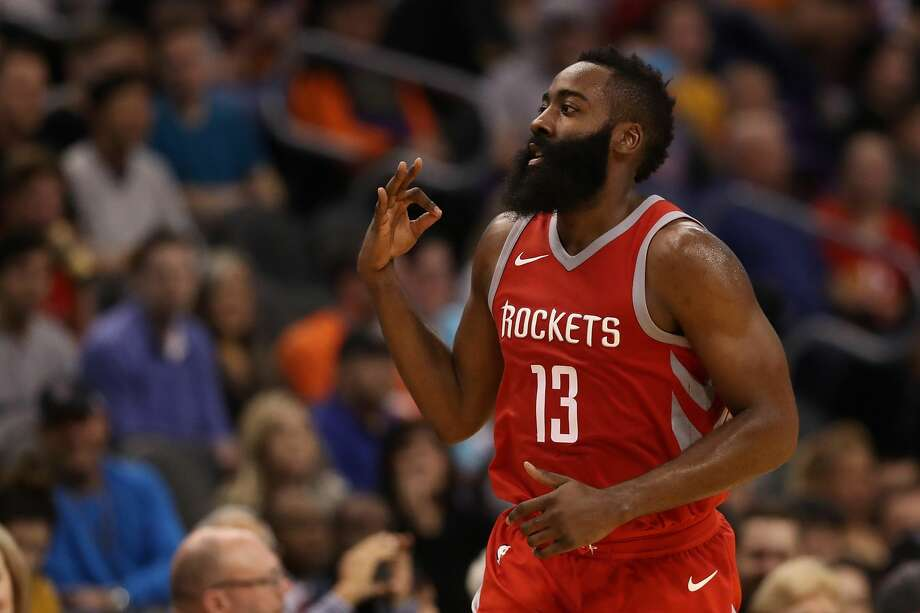 PHOENIX, AZ - NOVEMBER 16:  James Harden #13 of the Houston Rockets reacts to a three point shot against the Phoenix Suns during the second half of the NBA game at Talking Stick Resort Arena on November 16, 2017 in Phoenix, Arizona. NOTE TO USER: User expressly acknowledges and agrees that, by downloading and or using this photograph, User is consenting to the terms and conditions of the Getty Images License Agreement.  (Photo by Christian Petersen/Getty Images) Photo: Christian Petersen/Getty Images
