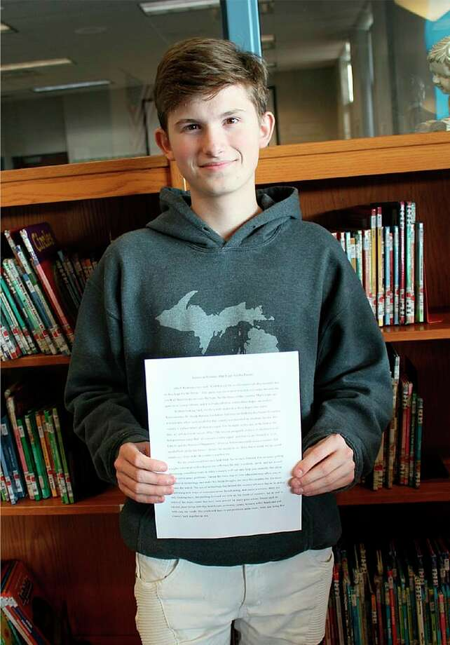 Isiah Gray-Shivley, a sophomore at Laker High School, was recently selectedas the Elkton VFW first place winner for his essay about American history. (Submitted Photo)