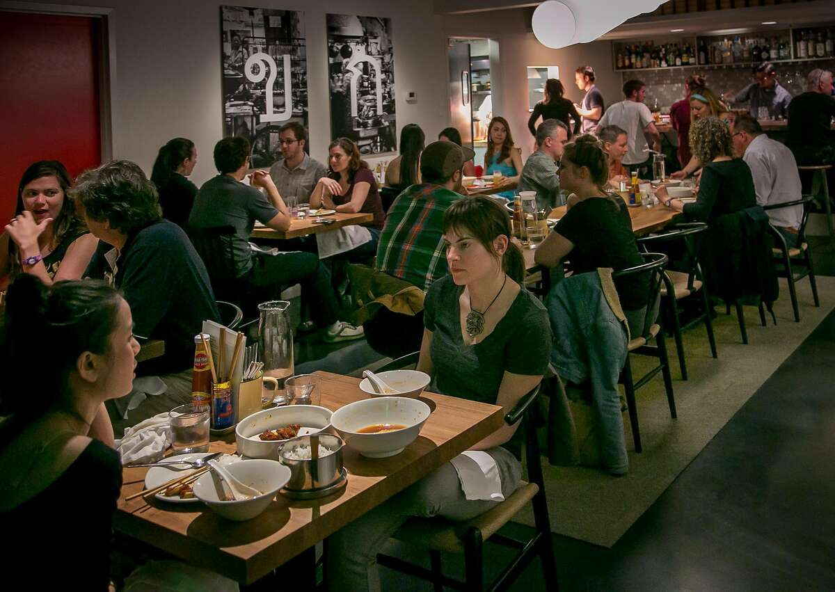 Diners enjoy dinner at Kin Khao in San Francisco, Calif., on Monday, April 28th, 2014.