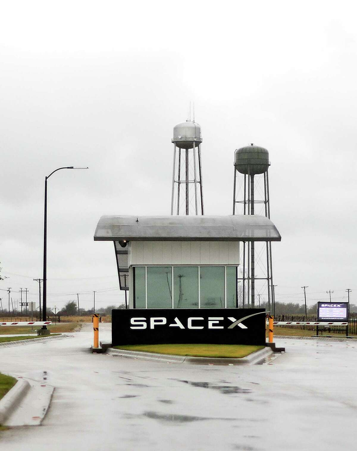 Photos of the SpaceX entrance on Wednesday, Nov. 8, 2017, in McGregor. ( Elizabeth Conley / Houston Chronicle )
