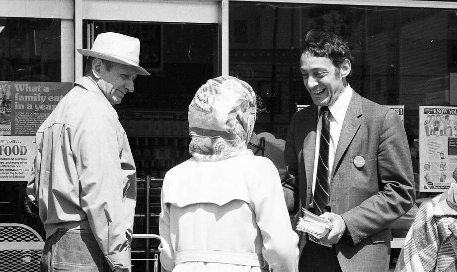 Harvey Milk passing out campaign literature in San Francisco during his 1976 State Assembly run. Photo: Joe Rosenthal / The Chronicle