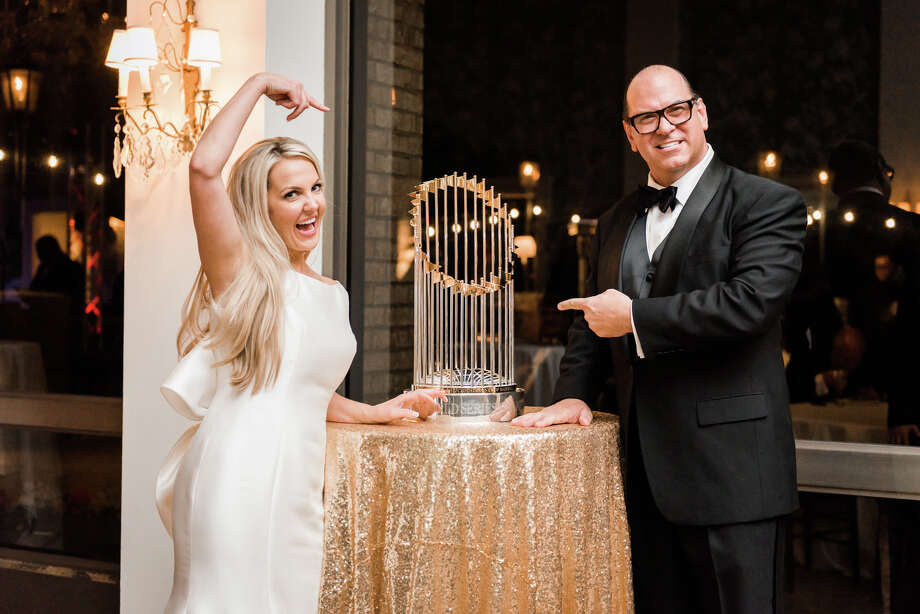 Left: Michelle Brown, Kevin Davis and Sean Neef with the World Series trophy at Revival Market. Center: The trophy was at Kaitlyn and Stewart Skloss' wedding. Right: The Astros' George Springer holds the trophy beside former President George H.W. Bush at a Texans game. Photo: Nate Messarra