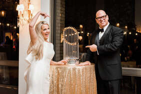 Left: Michelle Brown, Kevin Davis and Sean Neef with the World Series trophy at Revival Market. Center: The trophy was at Kaitlyn and Stewart Skloss' wedding. Right: The Astros' George Springer holds the trophy beside former President George H.W. Bush at a Texans game.