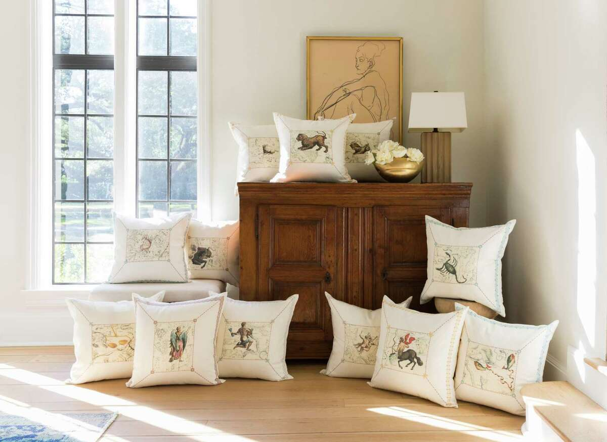 Artwork for these Zodiac Pillows was taken from antique celestial maps. $225;Tribute Goods, 3637 W. Alabama