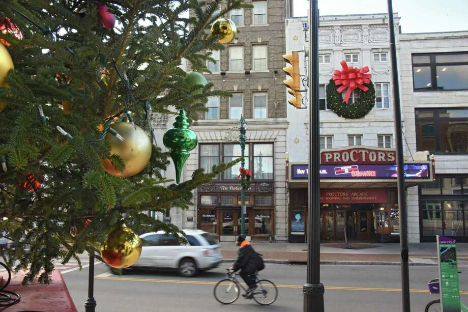 "Decorations are seen on State Street in downtown Schenectady on Friday, Nov. 17, 2017 before the Annual Daily Gazette Holiday Parade, which is celebrating its 49th anniversary Saturday. The theme for this year's Capital Region tradition is ""The Holiday Parade of Lights: 125 Years of Schenectady."" (Lori Van Buren / Times Union) Photo: Lori Van Buren, Albany Times Union / 20042171A"