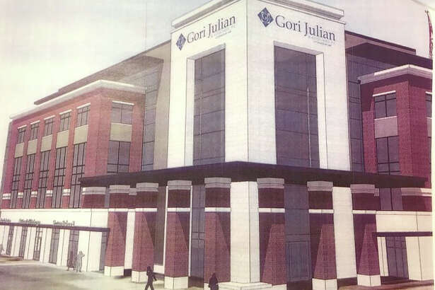 Pictured is a rendering of the proposed five-story office building of Gori Julian that will take the place of the old public safety building.