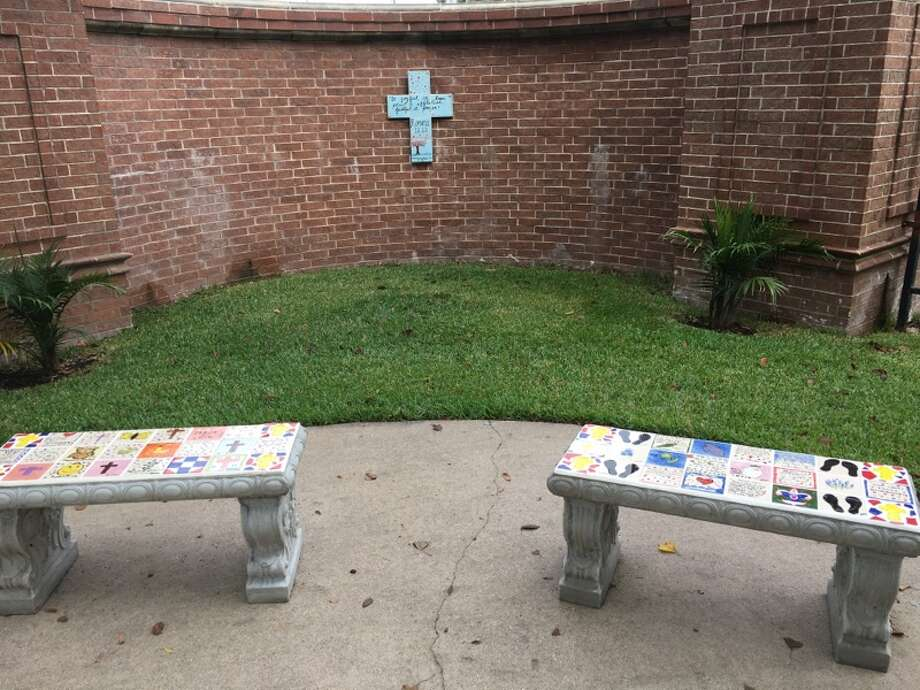 The prayer garden with two benches featuring hand painted tiles. Photo: Courtesy Of Parkway Place
