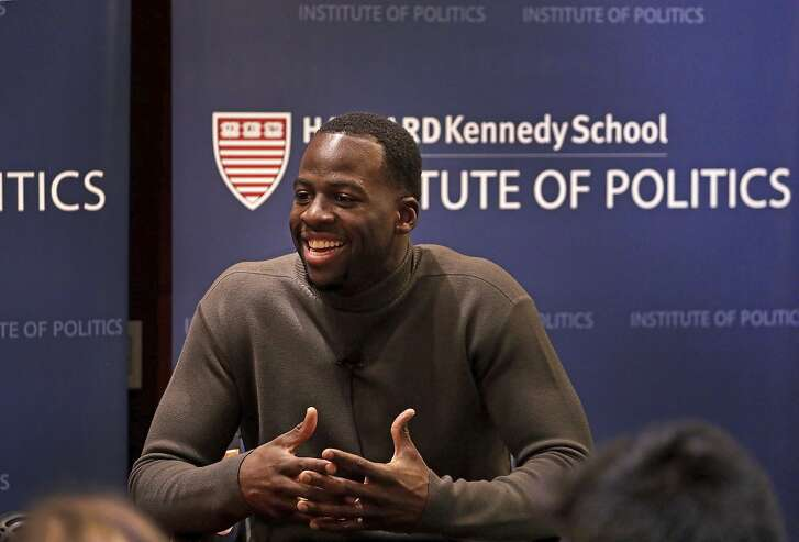 Draymond Green, of the NBA champion Golden State Warriors, speaks during a discussion about athletes as leaders at The Institute of Politics (IOP), Harvard Kennedy School, Thursday, Nov. 16, 2017, in Cambridge, Mass. (Barry Chin/The Boston Globe via AP)