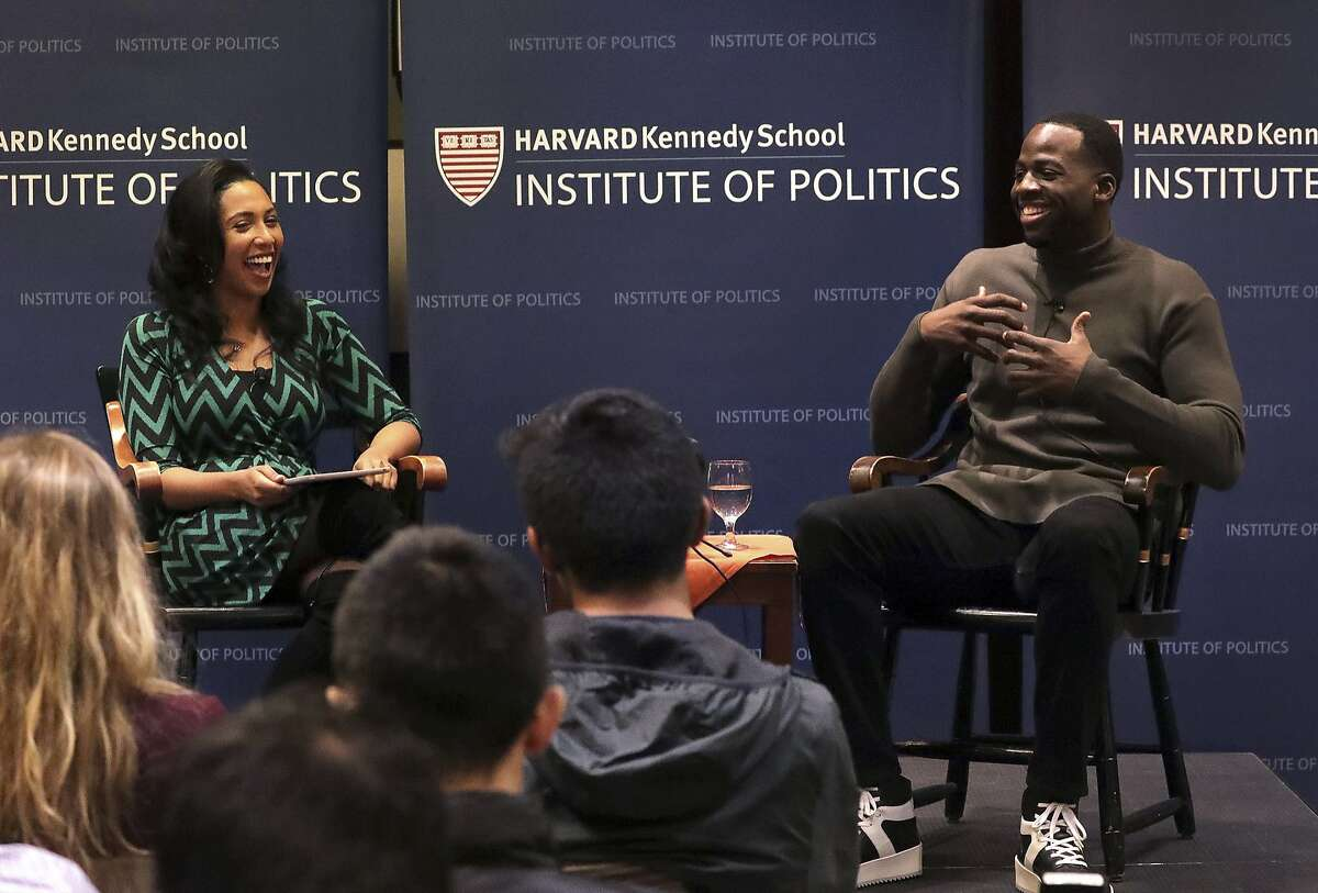 Draymond Green, of the NBA champion Golden State Warriors, speaks during a discussion with Leah Wright Rigueur, Harvard assistant professor of Public Policy at Harvard Kennedy School, about athletes as leaders at The Institute of Politics (IOP), Harvard Kennedy School, Thursday, Nov. 16, 2017, in Cambridge, Mass. (Barry Chin/The Boston Globe via AP)