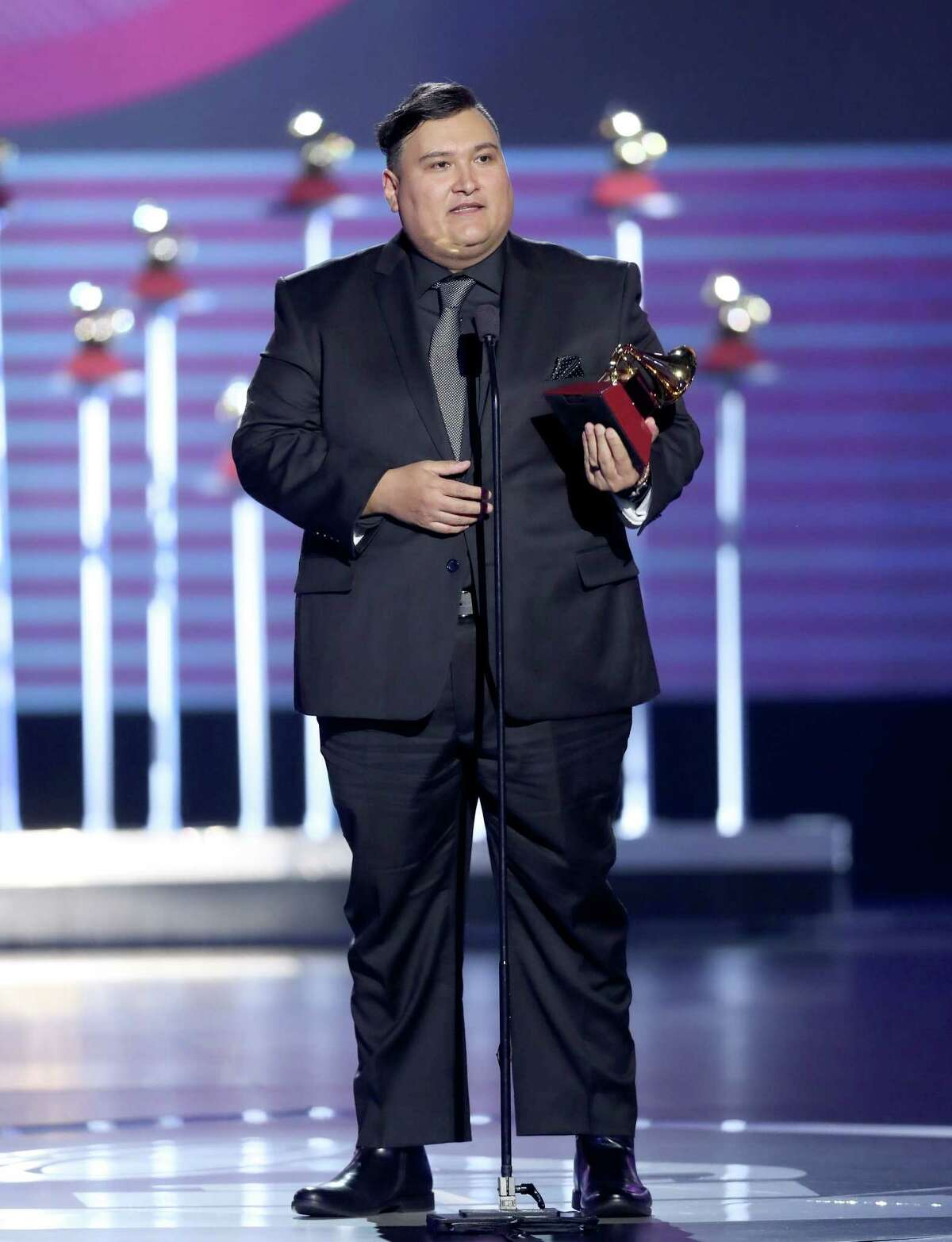 LAS VEGAS, NV - NOVEMBER 16: Juan Trevino accepts the awards for Best Mexican Regional Song for