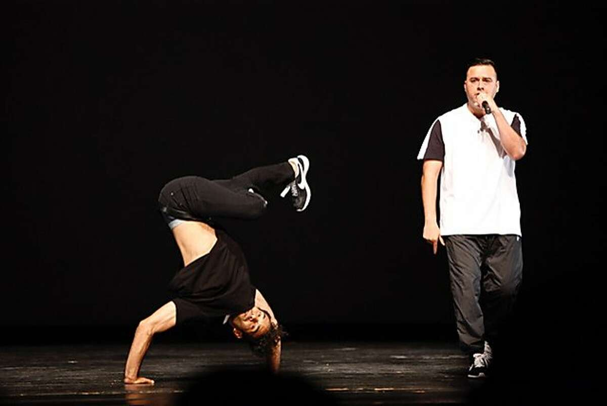 """Joel Rivera and Rodrigo Leal from HIStory Dance Company perform in """"American Me"""" at the San Francisco International Hip Hop Dance Festival at the Palace of Fine Arts Theatre. Photo: James Wiseman"""