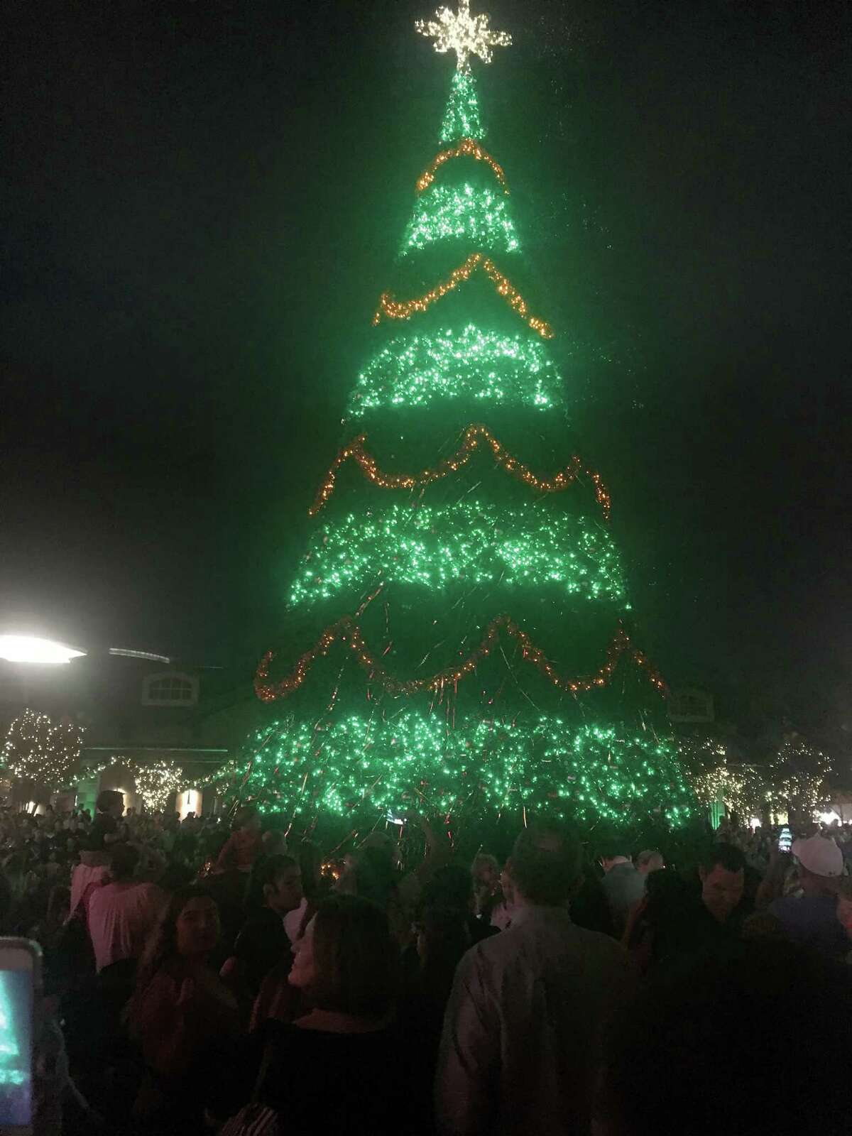 Nick Wolda introduced Kristen, Zach, Addison and Chance Belcher as the honorary 2017 Official Lighting Luminary at the Nov. 16, 2017, Luxury in Lights tree lighting ceremony on Market Street.