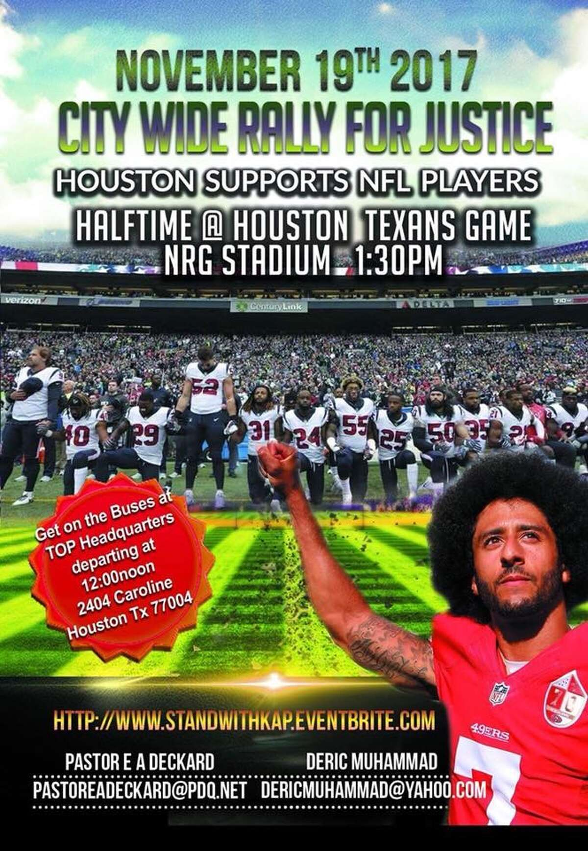 Community Activist Deric Muhammad said in a press release that he is organizing a rally to support NFL players protesting at NRG Stadium at 1:30 p.m. on Nov. 19, 2017.Scroll through the gallery ahead to see how NFL players responded to the protests.