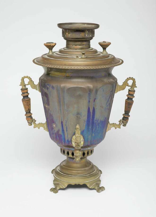 "Sarah and Barney Tunick, members of one of Greenwich's first Jewish families, brought this samovar with them from Russia in the 1800s. It is included in the Greenwich Historical Society's exhibition, ""An American Odyssey: The Jewish Experience in Greenwich,"" which runs through Apr. 15. Photo: Contributed Photo /Courtesy Of David P. Tunick /"