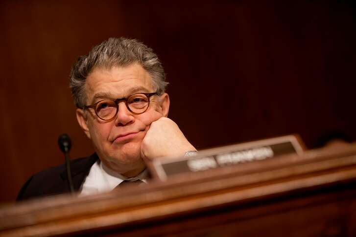 FILE -- Sen. Al Franken (D-Minn.) during  a hearing on Capitol Hill in Washington, April 5, 2017. A growing national outcry over sexual harassment reached the Senate on Nov. 16, when a radio newscaster accused Franken of kissing and groping her without consent during a 2006 USO tour of the Middle East before he took public office. Franken almost immediately released an apology to the newscaster, Leeann Tweeden. (Eric Thayer/The New York Times)