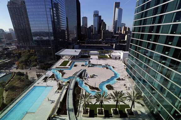 The Texas shape lazy river pool at the new Marriott Marquis in downtown Dec. 15, 2016, in Houston. ( James Nielsen / Houston Chronicle )