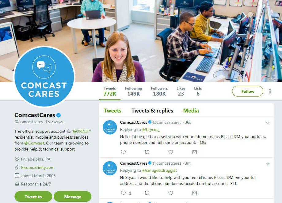 Comcast pioneered Twitter-based tech support. Photo: Chronicle Screenshot