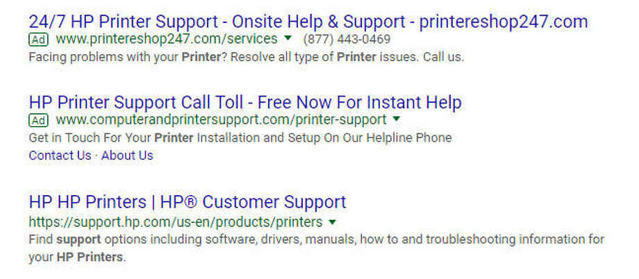 Only one of these search results is the real-deal HP printer support. Photo: Chronicle Screenshot