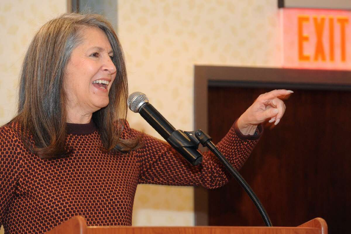Nancy Silberkleit, Co-CEO of Archie Comics, speaks at a luncheon for the Bridgeport Public Education Fund in Bridgeport, Conn. Nov. 14, 2017.