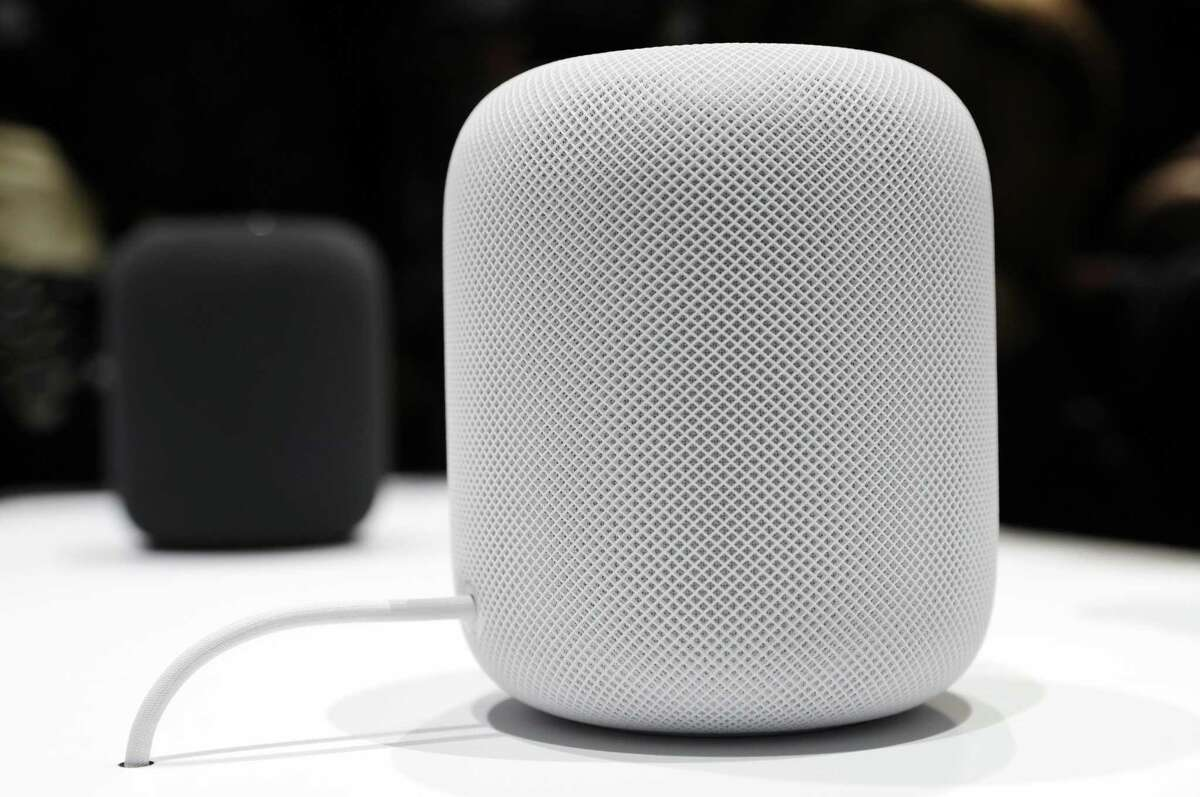 The HomePod speaker is seen in a showroom during an announcement of new products at the Apple Worldwide Developers Conference on June 5 in San Jose, Calif. On Friday, Apple said the speaker's release is being delayed until early 2018.