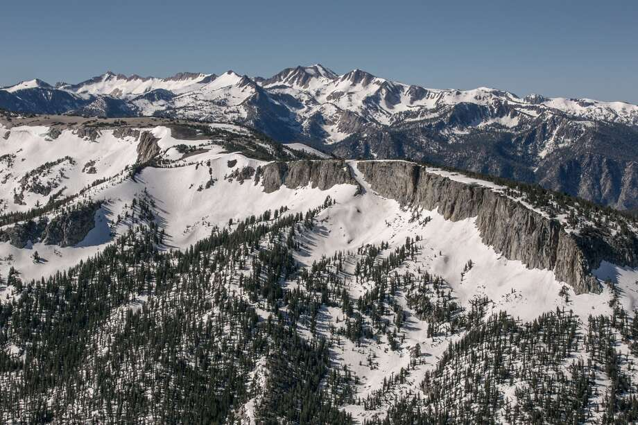 Looking south from the top of the Mammoth Mountain Ski Area takes in a view of Pumice Butte, Sharktooth Peak, and Silver Peak on June 29, 2017, in Mammoth Lakes, California. With a record winter and spring snowfall of 616 inches covering much of California's Sierra Nevada Mountain range, favorable conditions have pushed the regular ski season past the 4th of July holiday weekend, and possibly into August. Photo: (Photo By George Rose/Getty Images)
