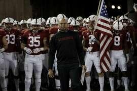 Stanford head coach David Shaw during an NCAA college football game against Washington Friday, Nov. 10, 2017, in Stanford, Calif. (AP Photo/Marcio Jose Sanchez)